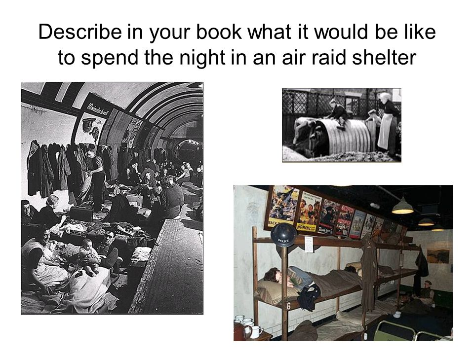 Describe in your book what it would be like to spend the night in an air raid shelter