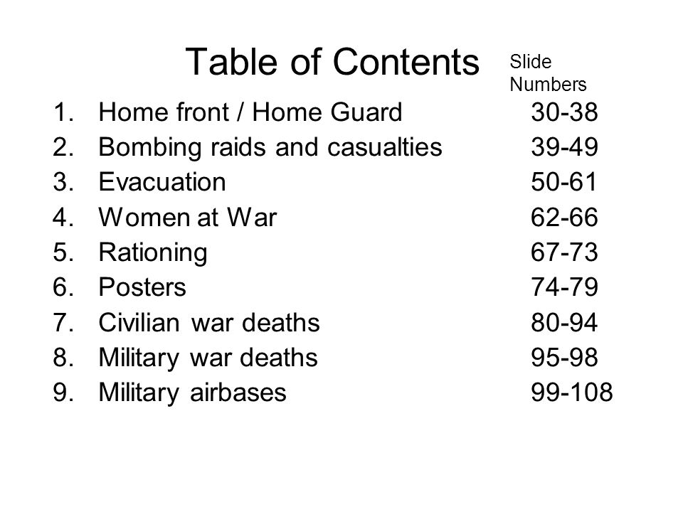 Table of Contents Home front / Home Guard 30-38