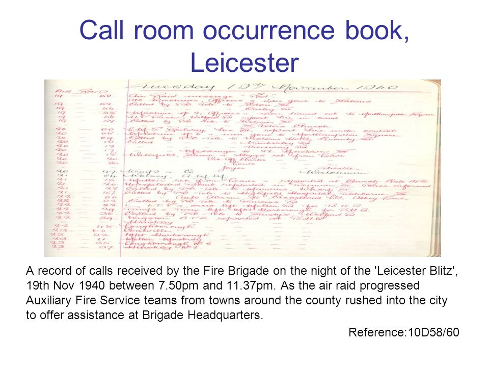Call room occurrence book, Leicester
