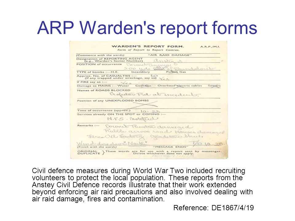 ARP Warden s report forms