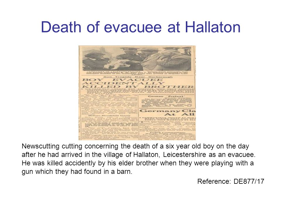 Death of evacuee at Hallaton