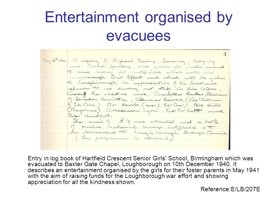 Entertainment organised by evacuees