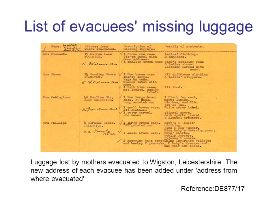 List of evacuees missing luggage