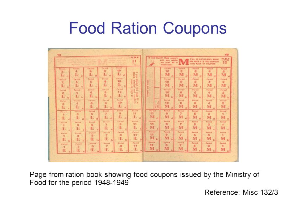 Food Ration Coupons Page from ration book showing food coupons issued by the Ministry of Food for the period 1948-1949.
