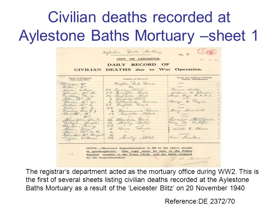 Civilian deaths recorded at Aylestone Baths Mortuary –sheet 1