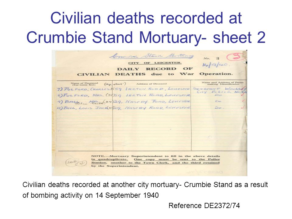 Civilian deaths recorded at Crumbie Stand Mortuary- sheet 2