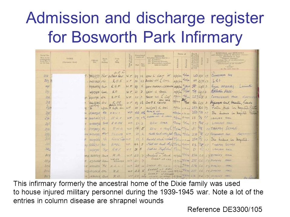 Admission and discharge register for Bosworth Park Infirmary