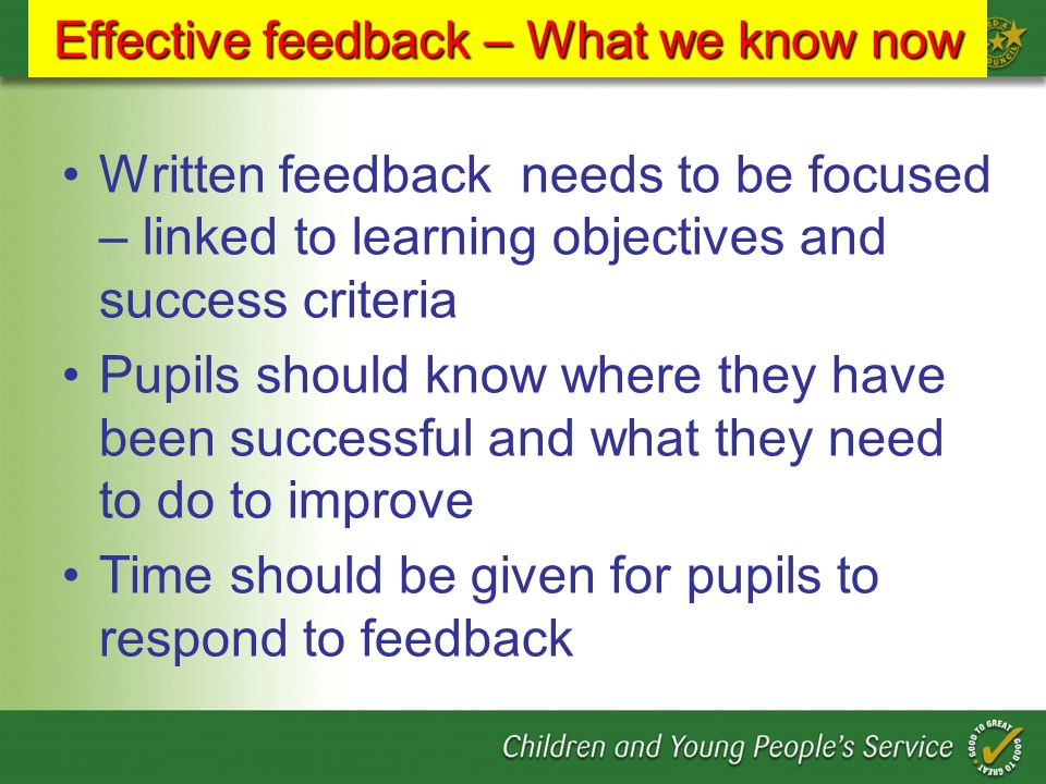Effective feedback – What we know now