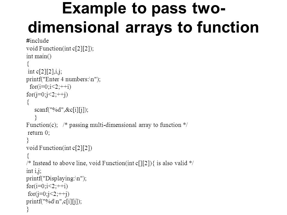 Write a C program to pass an array containing age of person to a