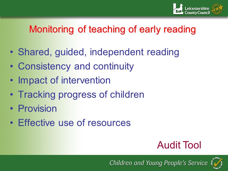 Monitoring of teaching of early reading