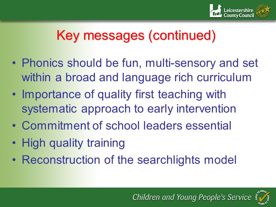 Key messages (continued)