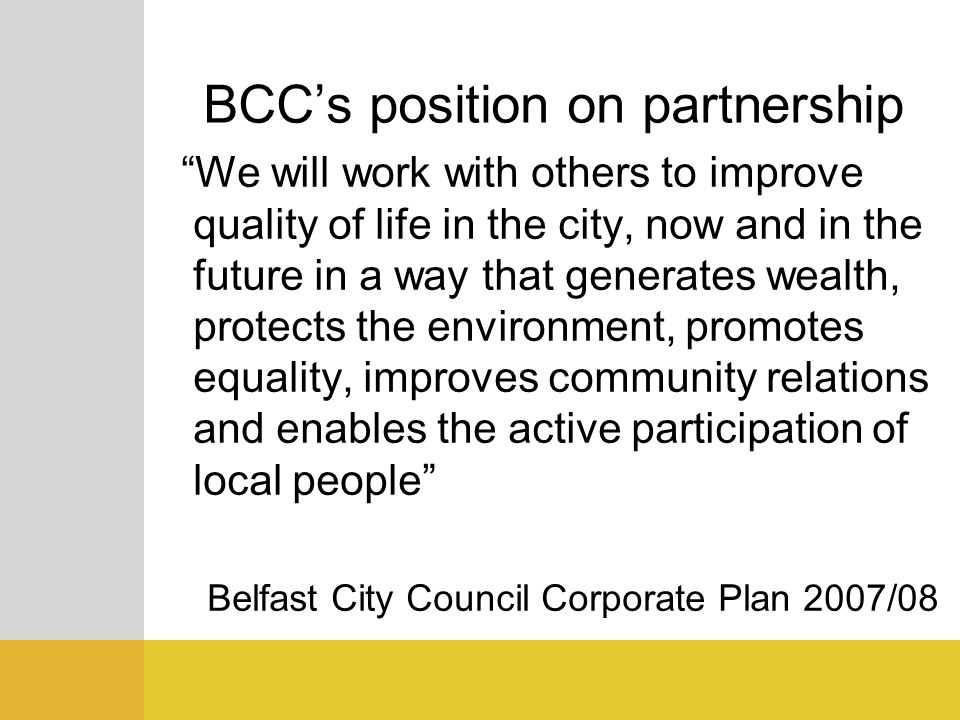 BCC's position on partnership