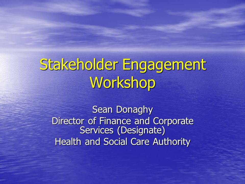 Stakeholder Engagement Workshop