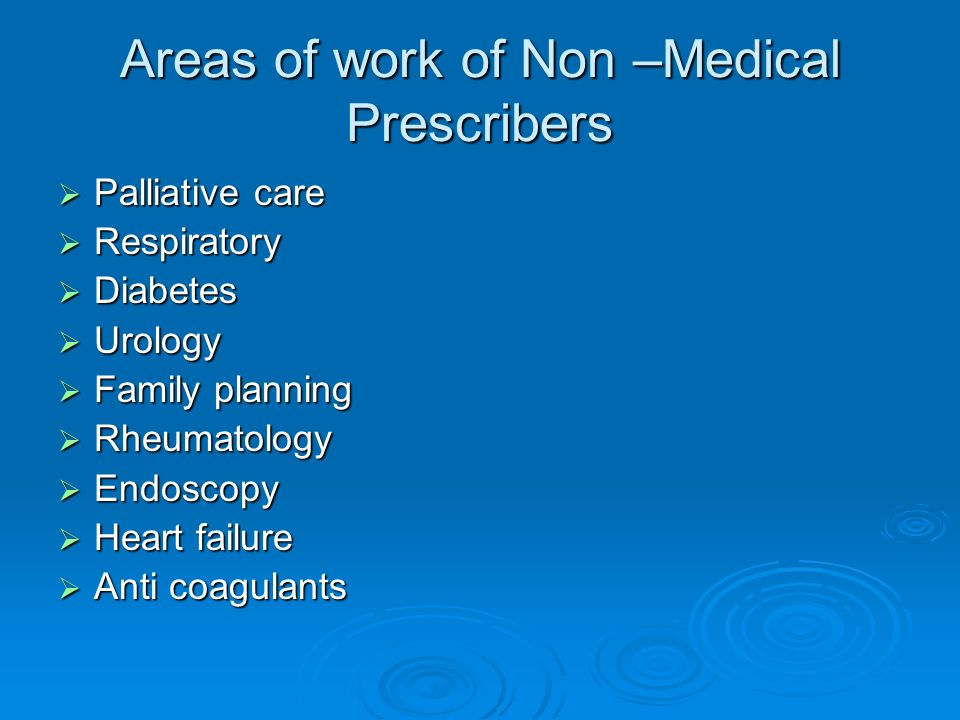 Areas of work of Non –Medical Prescribers
