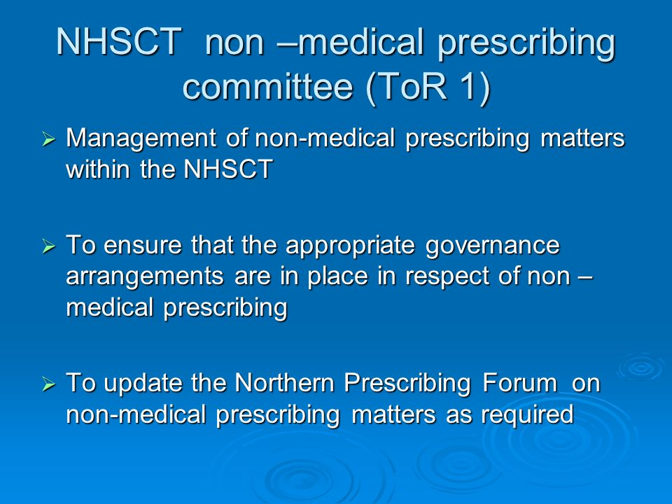 NHSCT non –medical prescribing committee (ToR 1)