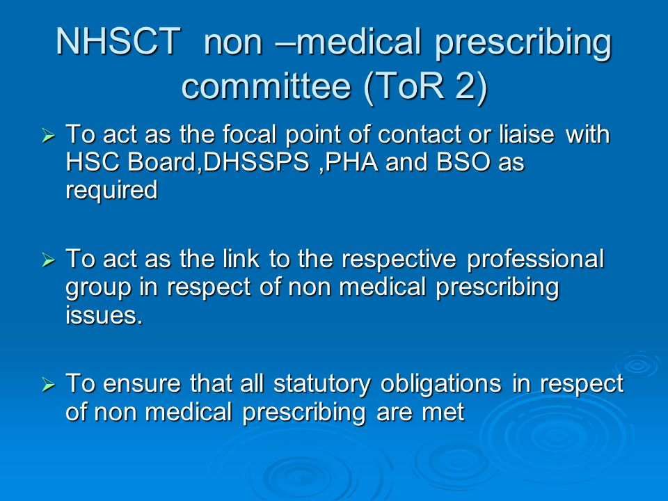 NHSCT non –medical prescribing committee (ToR 2)