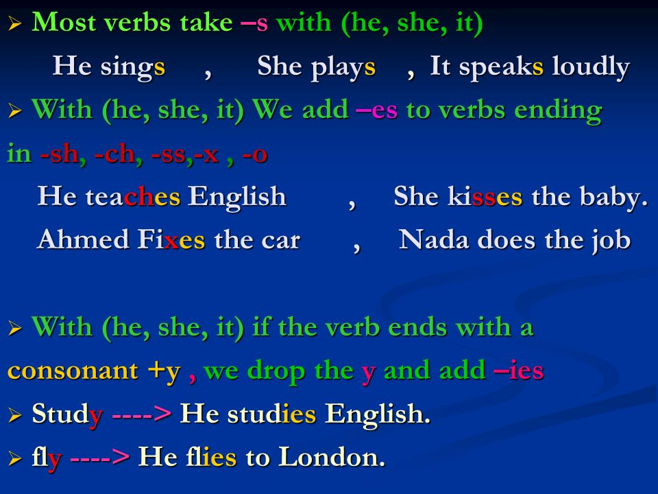Most verbs take –s with (he, she, it)