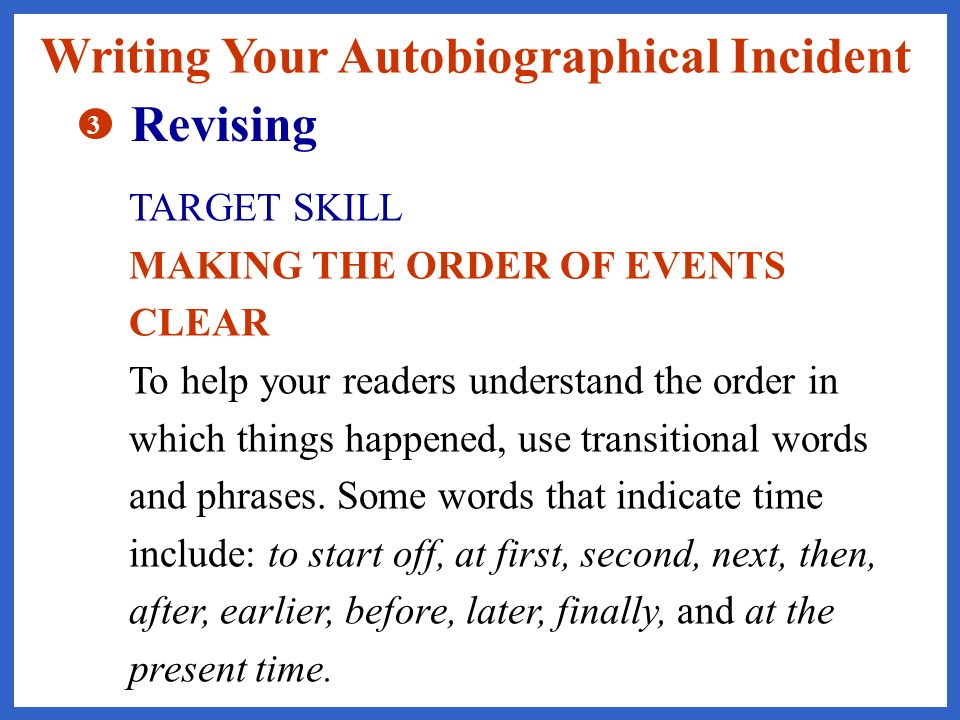Writing Your Autobiographical Incident Revising