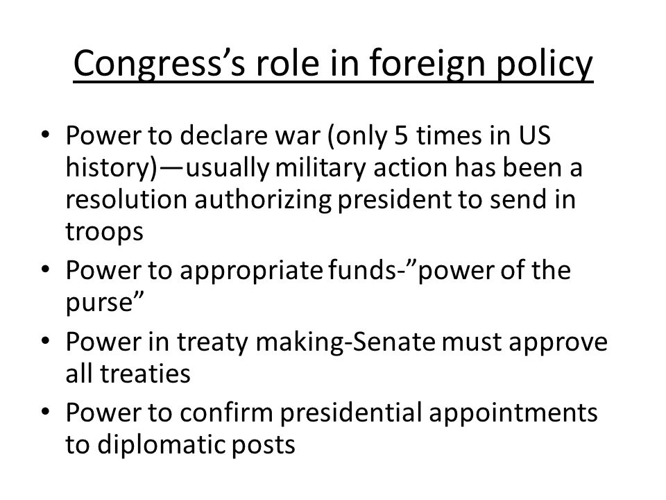 Congress's role in foreign policy