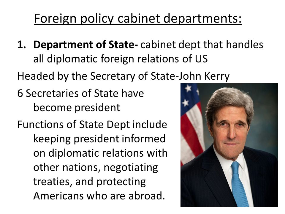 Foreign policy cabinet departments: