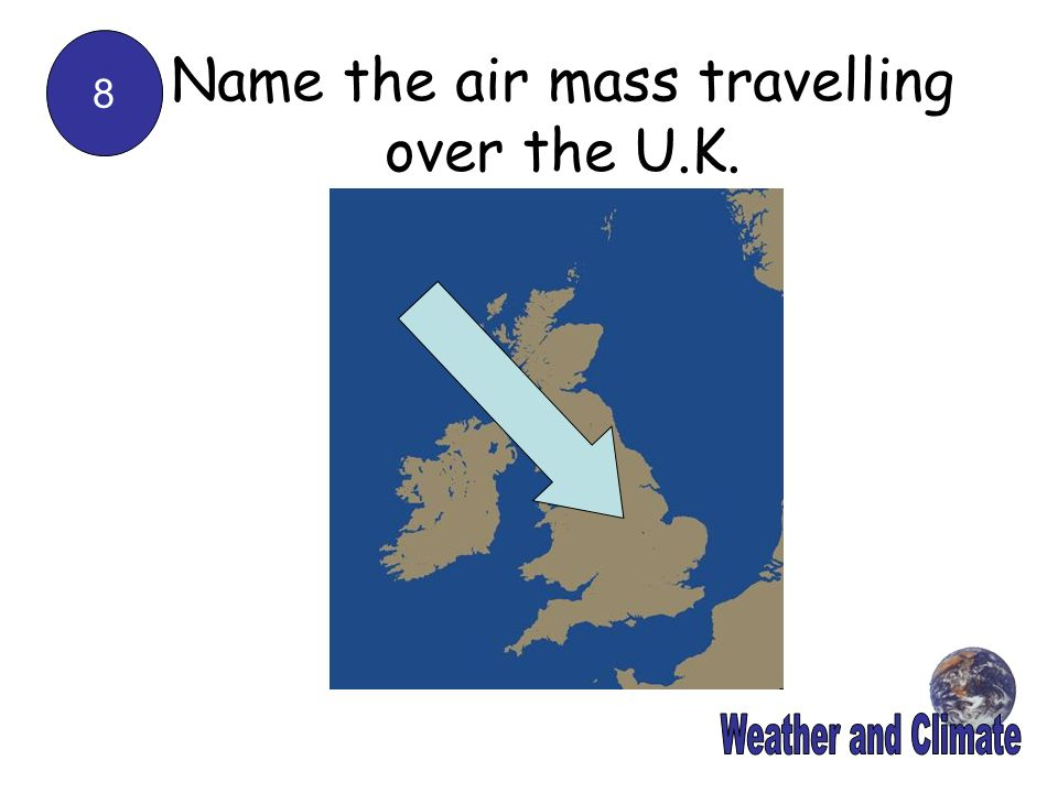Name the air mass travelling over the U.K.