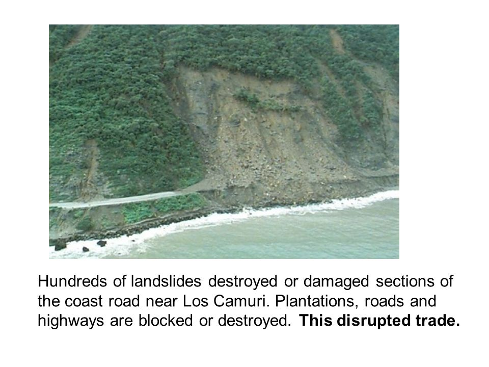 Hundreds of landslides destroyed or damaged sections of the coast road near Los Camuri.