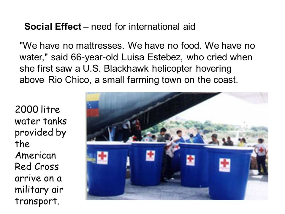 Social Effect – need for international aid