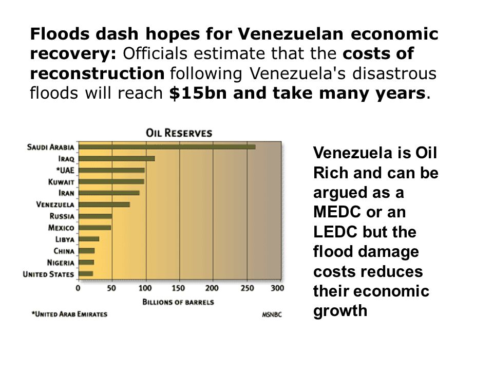 Floods dash hopes for Venezuelan economic recovery: Officials estimate that the costs of reconstruction following Venezuela s disastrous floods will reach $15bn and take many years.