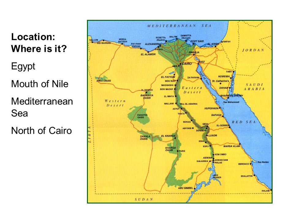 Location: Where is it Egypt Mouth of Nile Mediterranean Sea North of Cairo