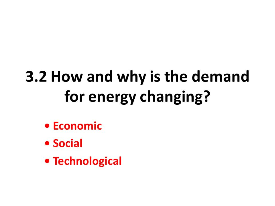 3.2 How and why is the demand for energy changing