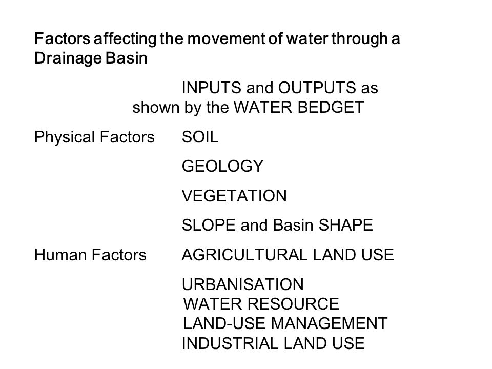 Factors affecting the movement of water through a Drainage Basin