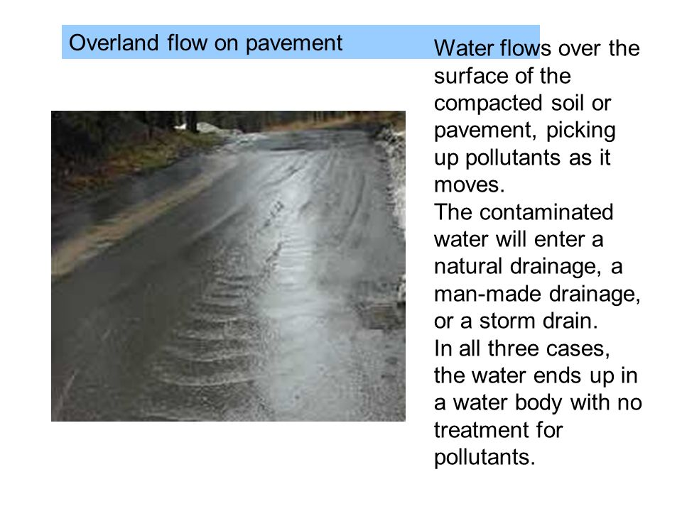 Overland flow on pavement
