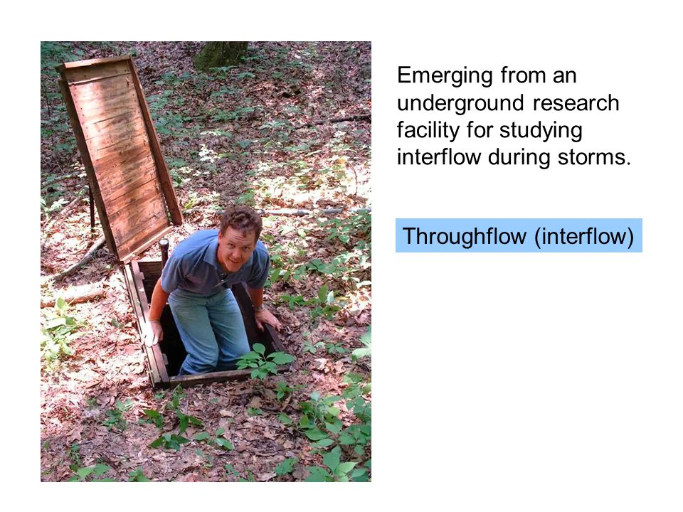 Emerging from an underground research facility for studying interflow during storms.