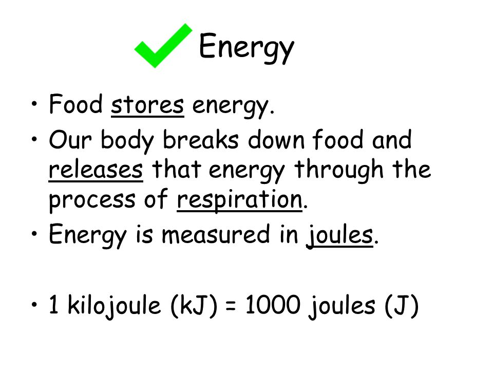 Energy Food stores energy.