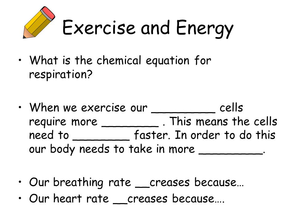 Exercise and Energy What is the chemical equation for respiration