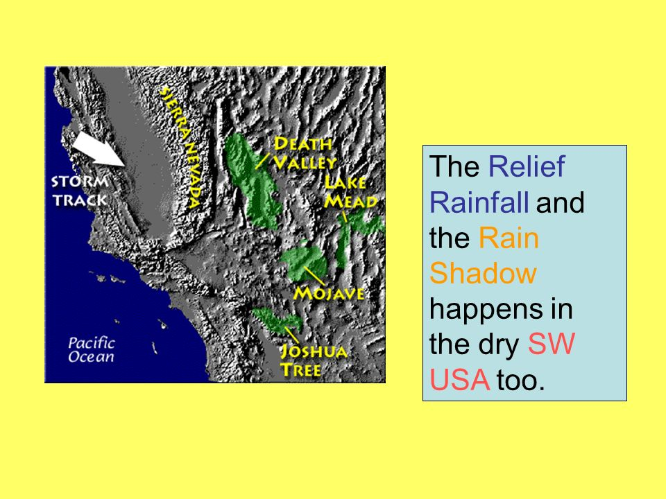 The Relief Rainfall and the Rain Shadow happens in the dry SW USA too.