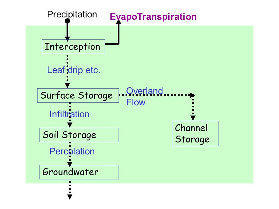 Precipitation EvapoTranspiration. Interception. Leaf drip etc. Overland Flow. Surface Storage. Infiltration.