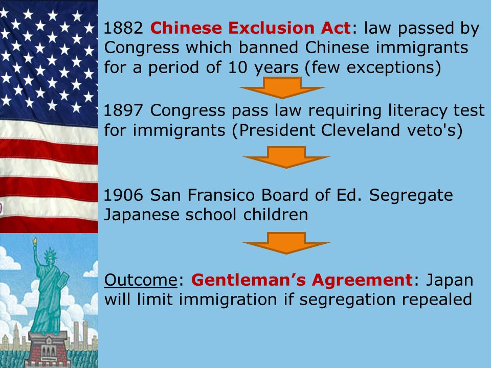 1882 Chinese Exclusion Act: law passed by Congress which banned Chinese immigrants for a period of 10 years (few exceptions) 1897 Congress pass law requiring literacy test for immigrants (President Cleveland veto s) 1906 San Fransico Board of Ed.