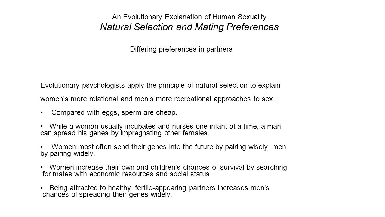 How do evolutionary psychologists explain gender differences in sexuality and mating preferences