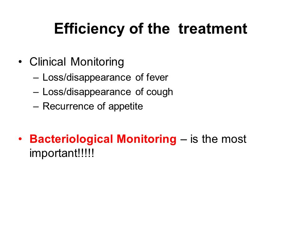 Efficiency of the treatment
