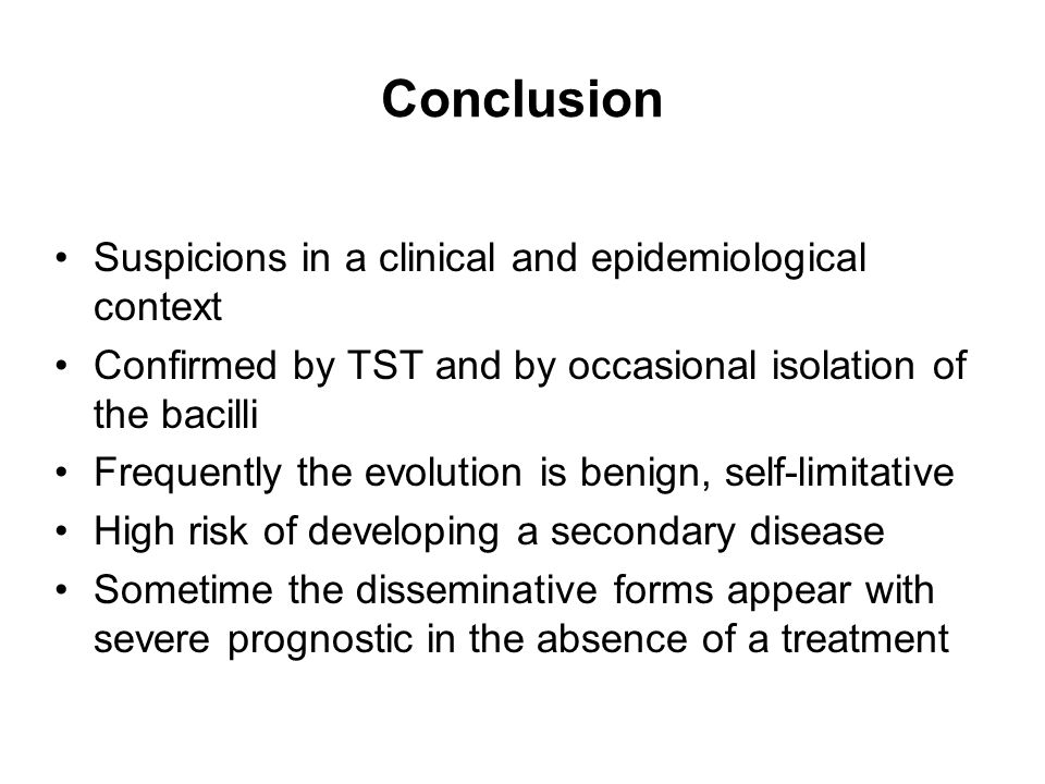 Conclusion Suspicions in a clinical and epidemiological context