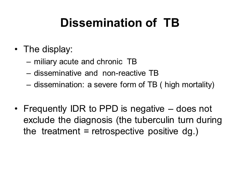 Dissemination of TB The display: