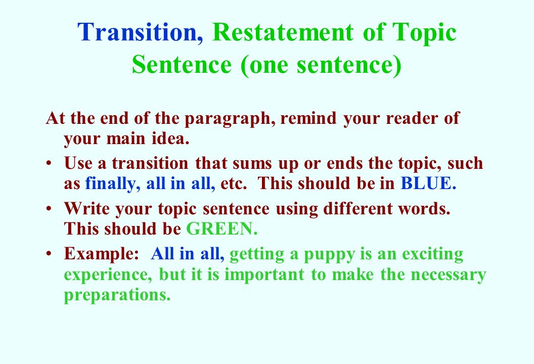 how to write a good topic sentence examples