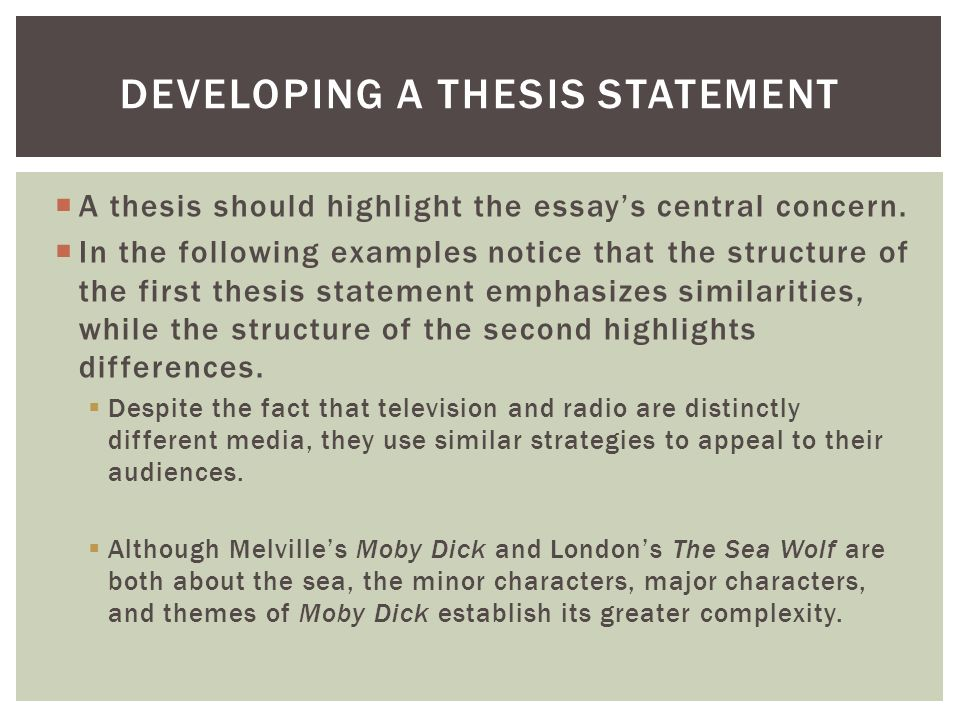 Developing a thesis statement