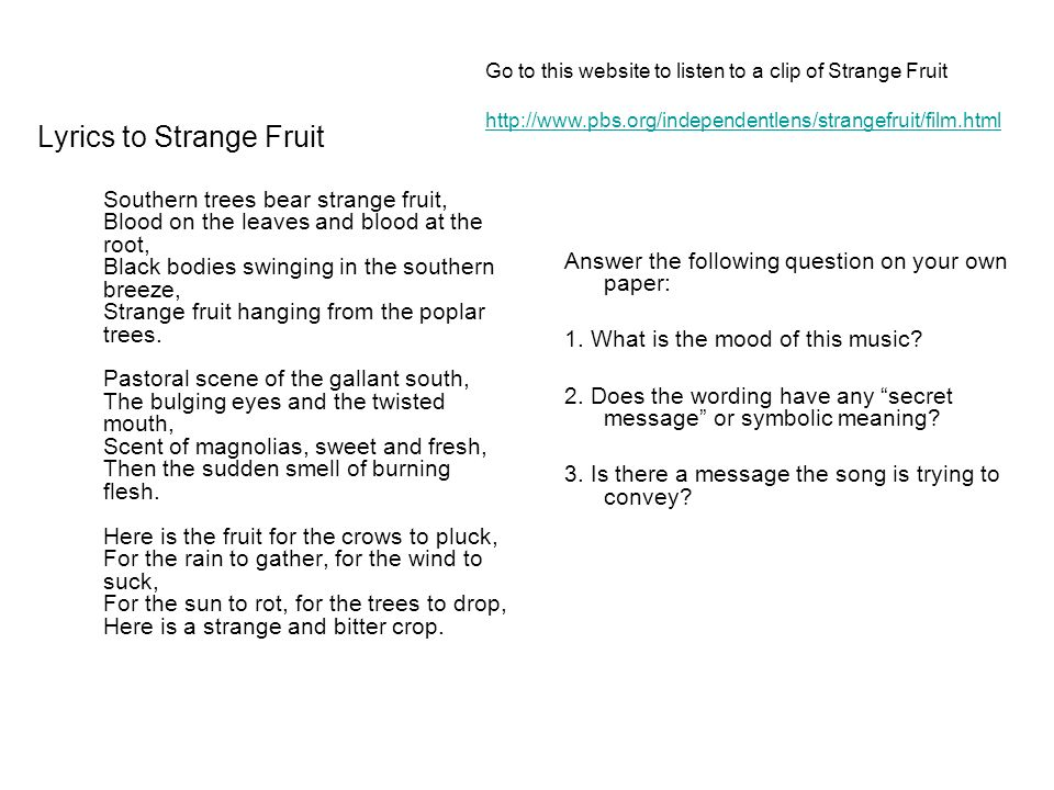 Strange Fruit Ppt Video Online Download