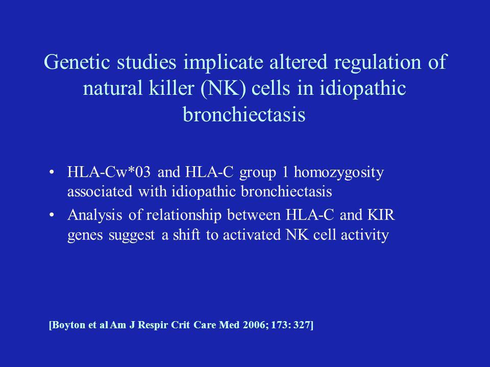 Genetic studies implicate altered regulation of natural killer (NK) cells in idiopathic bronchiectasis