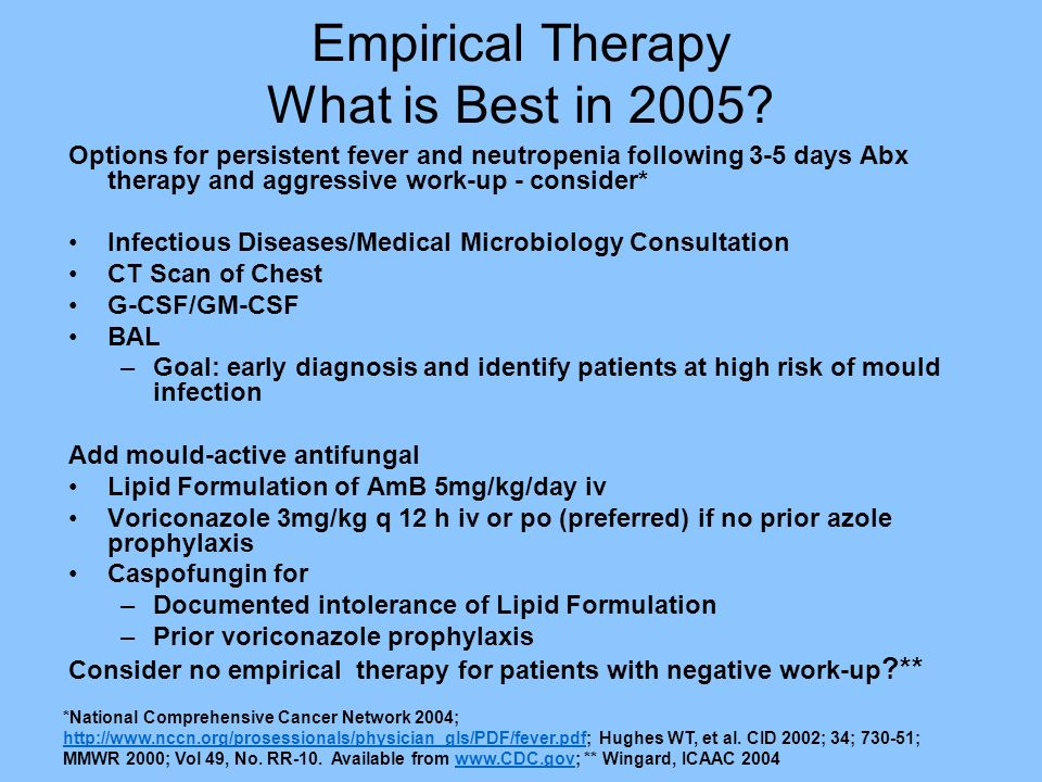 Empirical Therapy What is Best in 2005