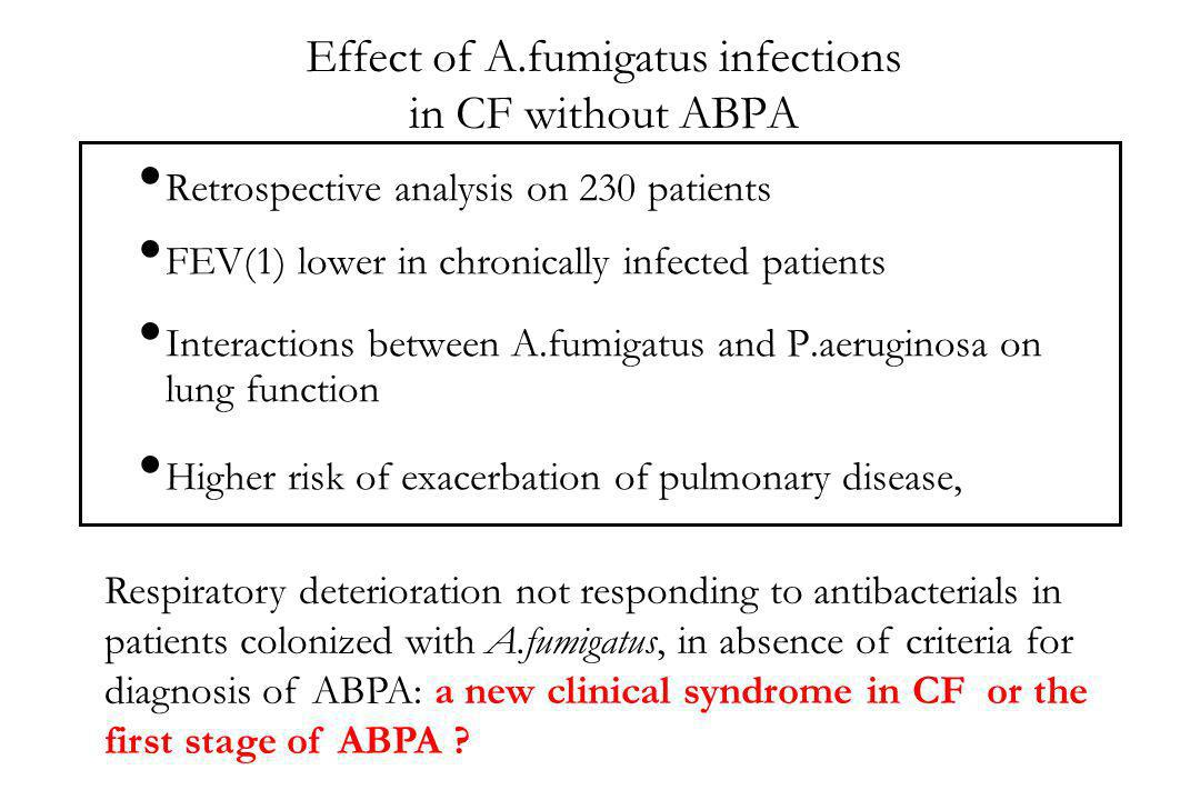 Effect of A.fumigatus infections in CF without ABPA
