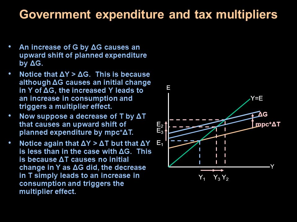 Government expenditure and tax multipliers