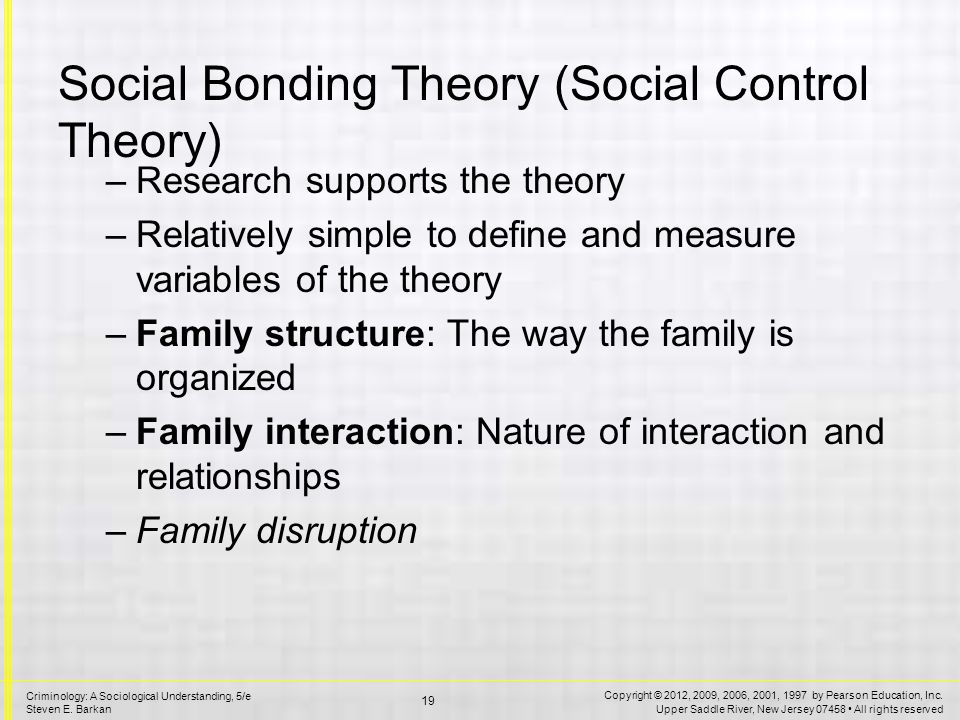 the social bond theory essay Travis hirschi's social bond theory is a framework used in criminology to understand what leads a person to commit criminal or anti-social acts hirschi has identified four main elements of social.